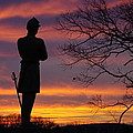 Sky Fire - 124th Ny Infantry Orange Blossoms-1a Sickles Ave Devils Den Sunset Autumn Gettysburg by Michael Mazaika