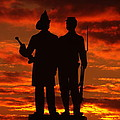 Sky Fire - 73rd Ny Infantry Fourth Excelsior Second Fire Zouaves-a1 Sunrise Autumn Gettysburg by Michael Mazaika