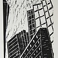 Skyscrapers II - Block Print by Christiane Schulze Art And Photography