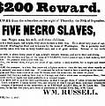 Slave Family And Children Escape - Reward Poster - 1847 by Daniel Hagerman