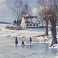 Sledging On A Frozen Pond by Peder Monsted