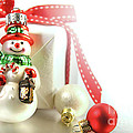 Small Christmas Ornament With Gift by Sandra Cunningham