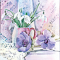 Snowdrops And Anemones by Julia Rowntree