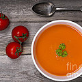 Soup On Wood Table by Jane Rix