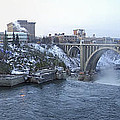 Spokane City Skyline On A Frigid Morning by Daniel Hagerman