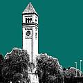 Spokane Skyline Clock Tower - Sea Green by DB Artist