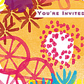 Spring Floral Invitation- Greeting Card by Linda Woods