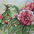Spring Flowers Wet With Dew Drops Original Canadian Pastel Pencil by Aeris Osborne