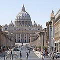 St Peter Basilica Viewed From Via Della Conciliazione. Rome by Bernard Jaubert