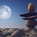 Stacked Stones In Sunlight Witt Moon by Aleksey Tugolukov