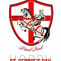 Stand Tall Happy St George Day Retro Poster by Aloysius Patrimonio