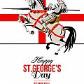 Stand Tall Stand Proud Happy St George Day Retro Poster by Aloysius Patrimonio