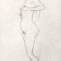Standing Nude Girl Looking Up Print by Gustav Klimt