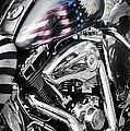 Stars and Stripes Harley  Print by Tim Gainey
