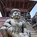 Statue At The Nyatapola Temple At Bhaktapur In Nepal by Robert Preston