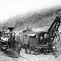 Steam Locomotive And Steam Shovel 1882 by Daniel Hagerman