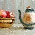 Still Life Apples and Tea Pot Print by Yury Malkov
