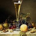 Still Life With A Glass Of Champagne by Johann Wilhelm Preyer