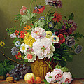 Still Life With Flowers And Fruit by Anthony Obermann