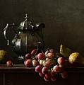 Still Life With Pewter Teapot And Grapes And Pears  by Diana Amelina