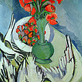 Still Life With Seagulls Poppies And Strawberries by Ernst Ludwig Kirchner