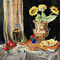 Still Life With Sunflowers Lemon Apples And Geranium  by Irina Sztukowski