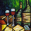 Still Life With Wine And Cheese by Kamil Swiatek