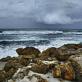 Stormy Sky And Ocean Waves by Julie Palencia