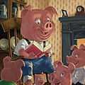 Story Telling Pig With Family by Martin Davey