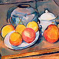 Straw Covered Vase Sugar Bowl And Apples by Paul Cezanne