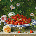 Strawberries in a Blue and White Buckelteller with Roses and Sweet Briar on a Ledge Print by William Hammer