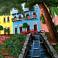 Street Hill In Old San Juan by Luis F Rodriguez