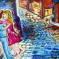 Street Kiss By Night  by Ramona Matei