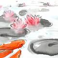 Sumie No.11 Koi Fish And Lotus Flowers by Sumiyo Toribe