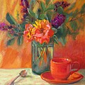 Summer Song- Orange Roses and Butterfly Bush Blooms