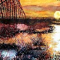 Sun Sets On The Marsh by Janine Riley
