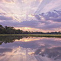 Sun Setting over Pond Print by Bonnie Barry