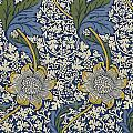 Sunflowers On Blue Pattern by William Morris