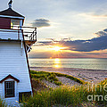 Sunset at Covehead Harbour Lighthouse Print by Elena Elisseeva