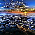 Sunset at La Jolla Tide Pools Print by Peter Dang