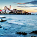 Sunset At Nubble Light-cape Neddick Maine by Thomas Schoeller
