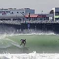 Surfing in Santa Cruz Print by Bruce Frye