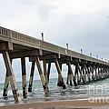 Surreal Blue Sky Ocean Coastal Fishing Pier Seagull North Carolina Atlantic Ocean by Kathy Fornal