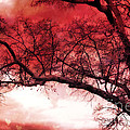 Surreal Fantasy Gothic Red Tree Landscape by Kathy Fornal