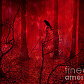 Surreal Fantasy Gothic Red Woodlands Raven Trees by Kathy Fornal