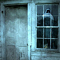 Surreal Gothic Grim Reaper In Window - Spooky Haunted House Reflection In Window by Kathy Fornal