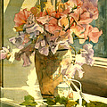 Sweetpea On The Windowsill by Julia Rowntree