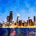 Swirly Chicago At Night by Paul Velgos