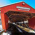 Taftsville Covered Bridge In Vermont In Winter by Edward Fielding