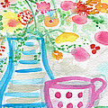 Tea And Fresh Flowers- Whimsical Floral Painting by Linda Woods